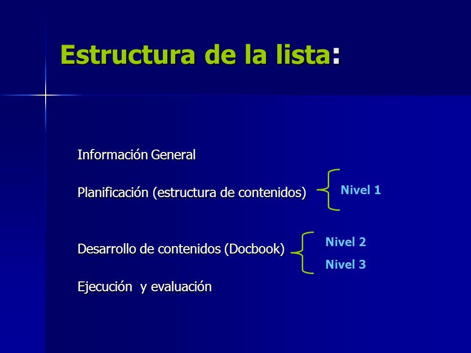 Estructura de la lista : Información General Planificación (estructura de contenidos) Desarrollo de contenidos (Docbook) Ejecución y evaluación Nivel