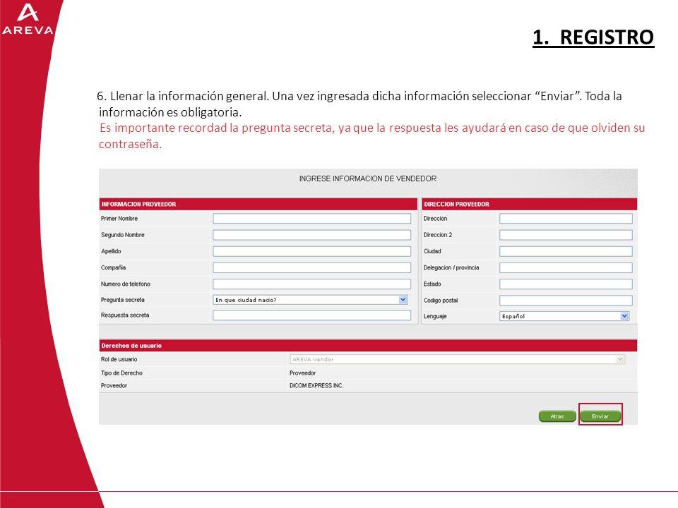 6.Llenar la información general. Una vez ingresada dicha información seleccionar Enviar.