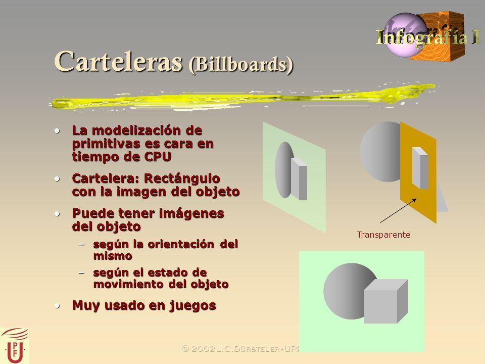 2002 J.C.Dürsteler - UPF- IUA Carteleras (Billboards) La modelización de primitivas es cara en tiempo de CPULa modelización de primitivas es cara en t