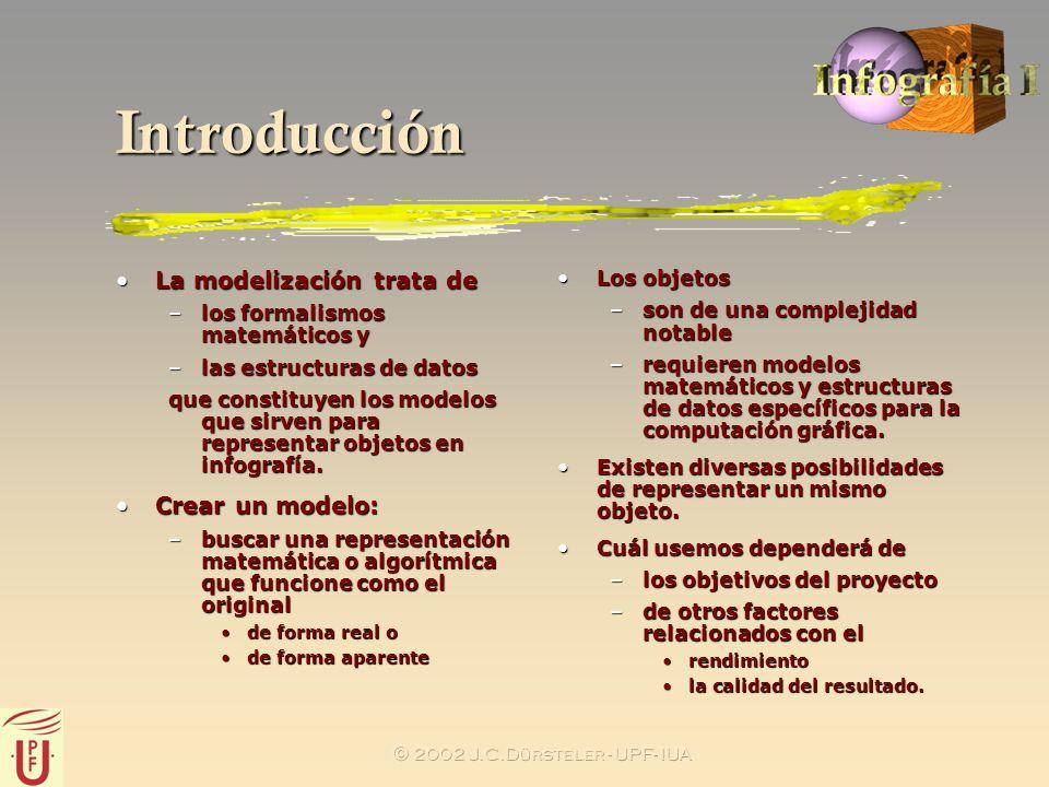 2002 J.C.Dürsteler - UPF- IUA Introducción La modelización trata deLa modelización trata de –los formalismos matemáticos y –las estructuras de datos q