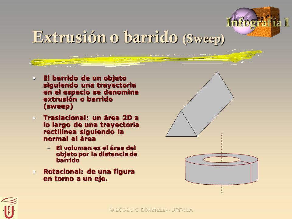 2002 J.C.Dürsteler - UPF- IUA Extrusión o barrido (Sweep) El barrido de un objeto siguiendo una trayectoria en el espacio se denomina extrusión o barr