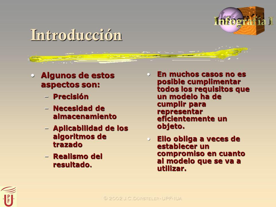 2002 J.C.Dürsteler - UPF- IUA Introducción Algunos de estos aspectos son:Algunos de estos aspectos son: –Precisión –Necesidad de almacenamiento –Aplic