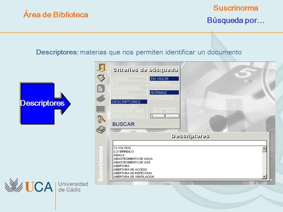 Descriptores: materias que nos permiten identificar un documento Descriptores Área de Biblioteca Suscrinorma Búsqueda por…