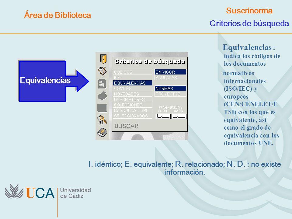 Equivalencias : indica los códigos de los documentos normativos internacionales (ISO/IEC) y europeos (CEN/CENELET/E TSI) con los que es equivalente, a