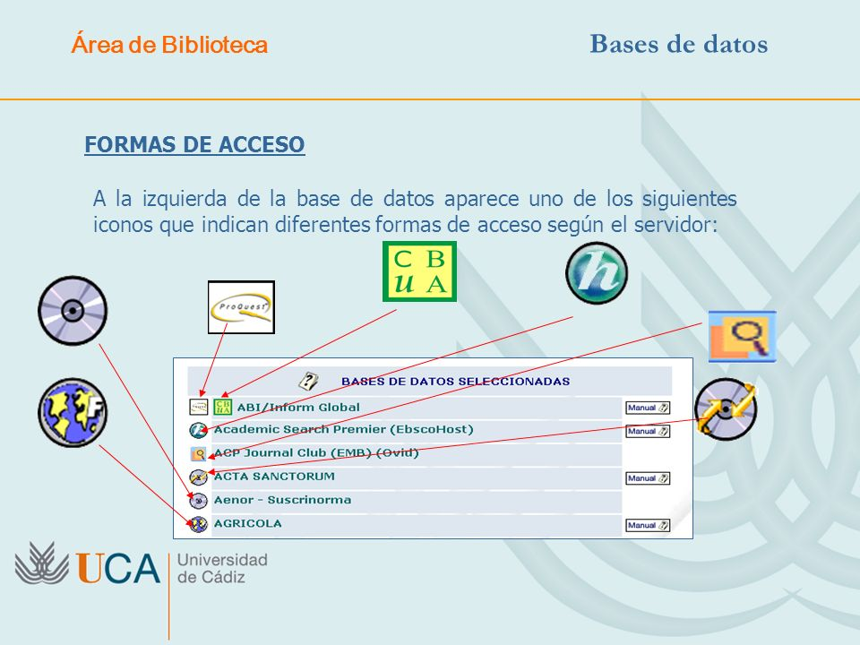 FORMAS DE ACCESO A la izquierda de la base de datos aparece uno de los siguientes iconos que indican diferentes formas de acceso según el servidor: Ár