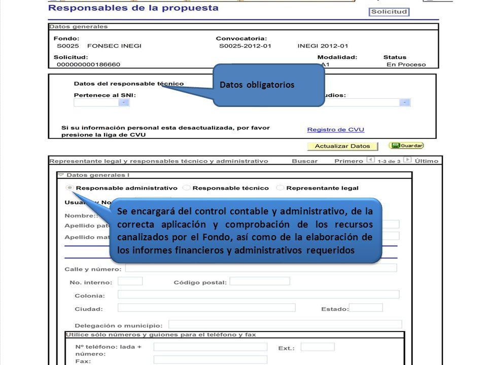 Datos obligatorios Se encargará del control contable y administrativo, de la correcta aplicación y comprobación de los recursos canalizados por el Fon