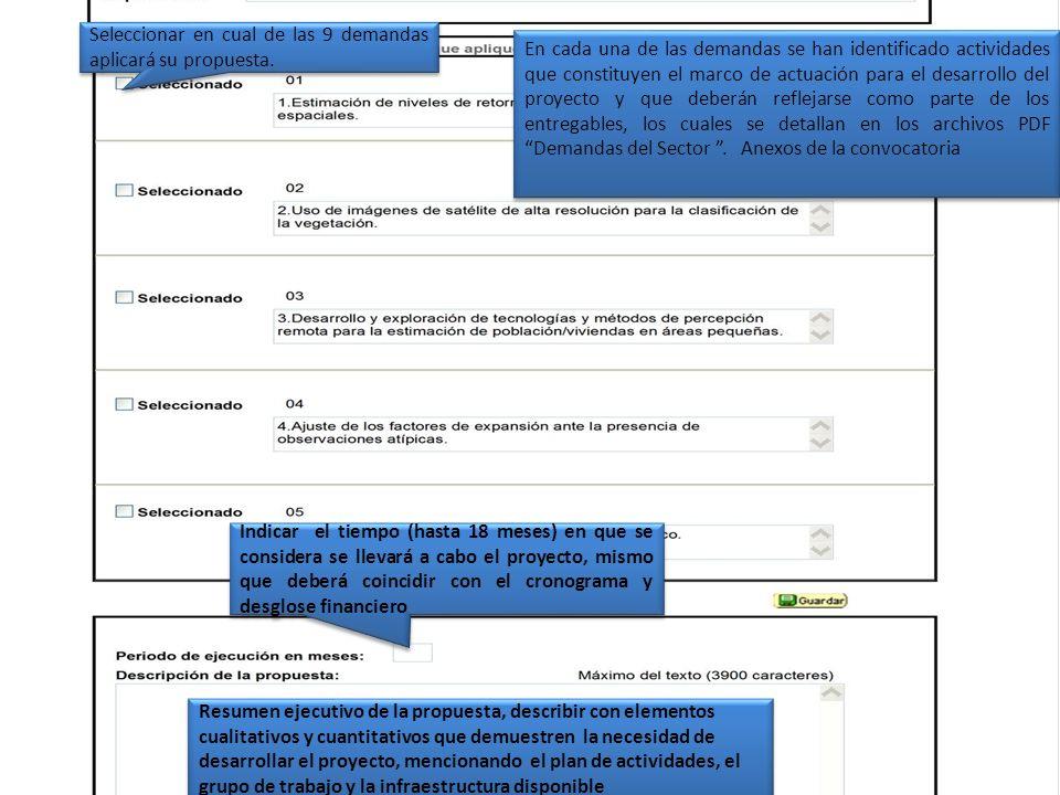 Seleccionar en cual de las 9 demandas aplicará su propuesta. En cada una de las demandas se han identificado actividades que constituyen el marco de a
