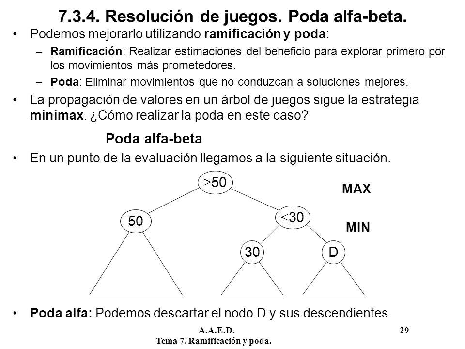 A.A.E.D. 29 Tema 7. Ramificación y poda. 7.3.4. Resolución de juegos. Poda alfa-beta. Podemos mejorarlo utilizando ramificación y poda: –Ramificación: