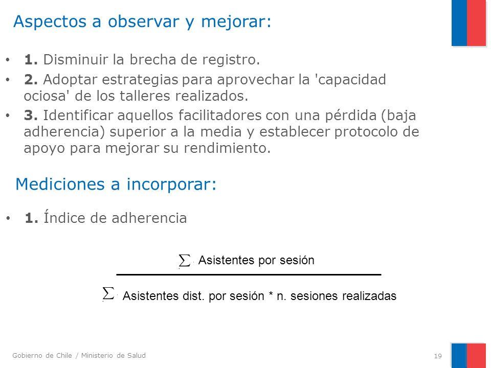 Gobierno de Chile / Ministerio de Salud Aspectos a observar y mejorar: 1. Disminuir la brecha de registro. 2. Adoptar estrategias para aprovechar la '