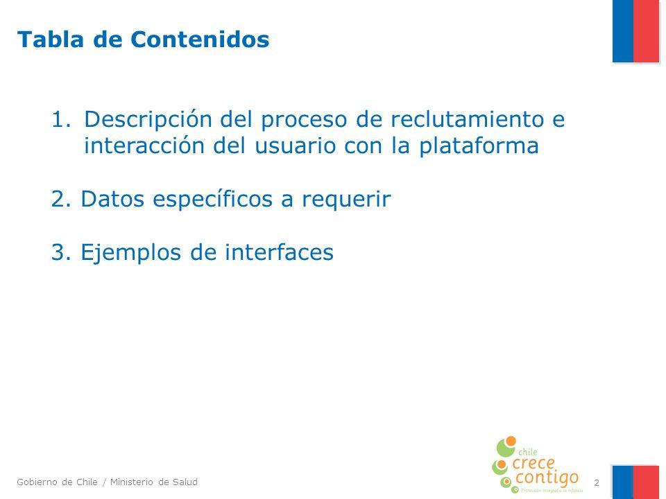 Gobierno de Chile / Ministerio de Salud 2 Tabla de Contenidos 1. Descripción del proceso de reclutamiento e interacción del usuario con la plataforma