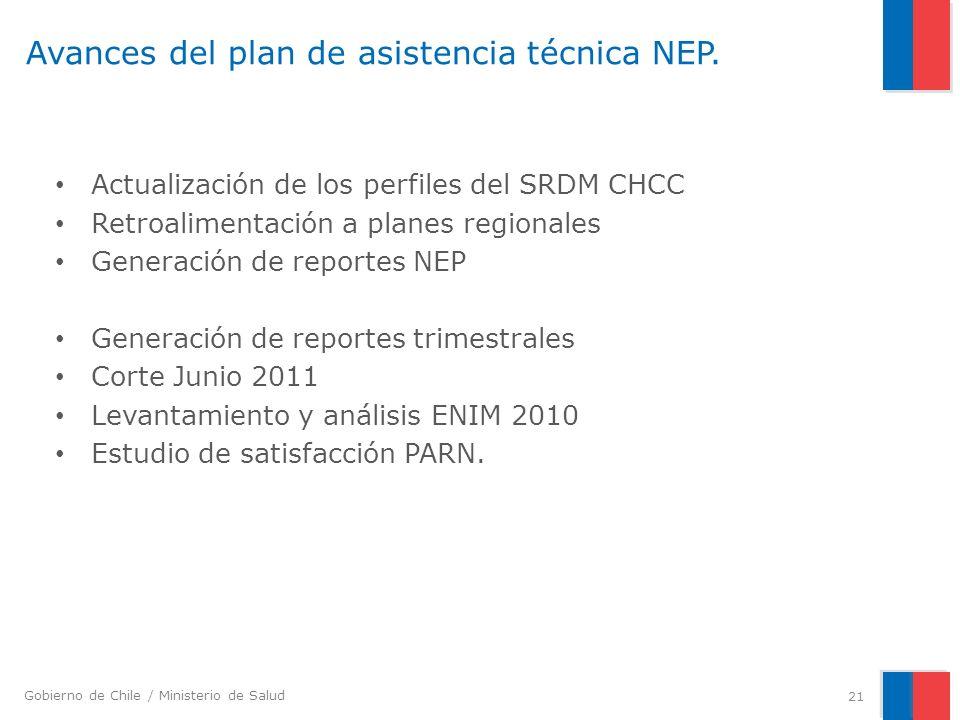 Gobierno de Chile / Ministerio de Salud Avances del plan de asistencia técnica NEP. Actualización de los perfiles del SRDM CHCC Retroalimentación a pl