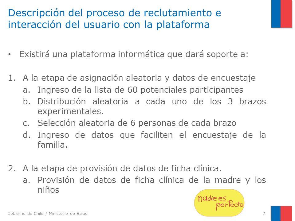 Gobierno de Chile / Ministerio de Salud 3 Descripción del proceso de reclutamiento e interacción del usuario con la plataforma Existirá una plataforma informática que dará soporte a: 1.A la etapa de asignación aleatoria y datos de encuestaje a.