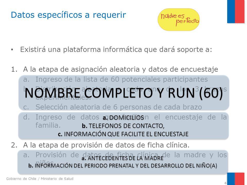 Gobierno de Chile / Ministerio de Salud 4 Datos específicos a requerir Existirá una plataforma informática que dará soporte a: 1.A la etapa de asignación aleatoria y datos de encuestaje a.