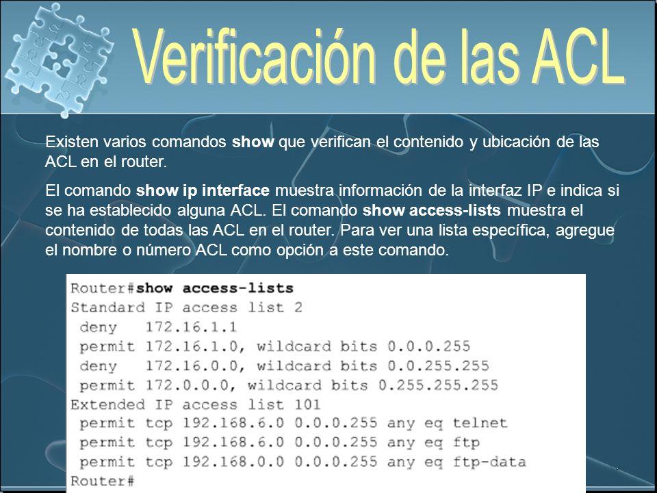 Existen varios comandos show que verifican el contenido y ubicación de las ACL en el router. El comando show ip interface muestra información de la in