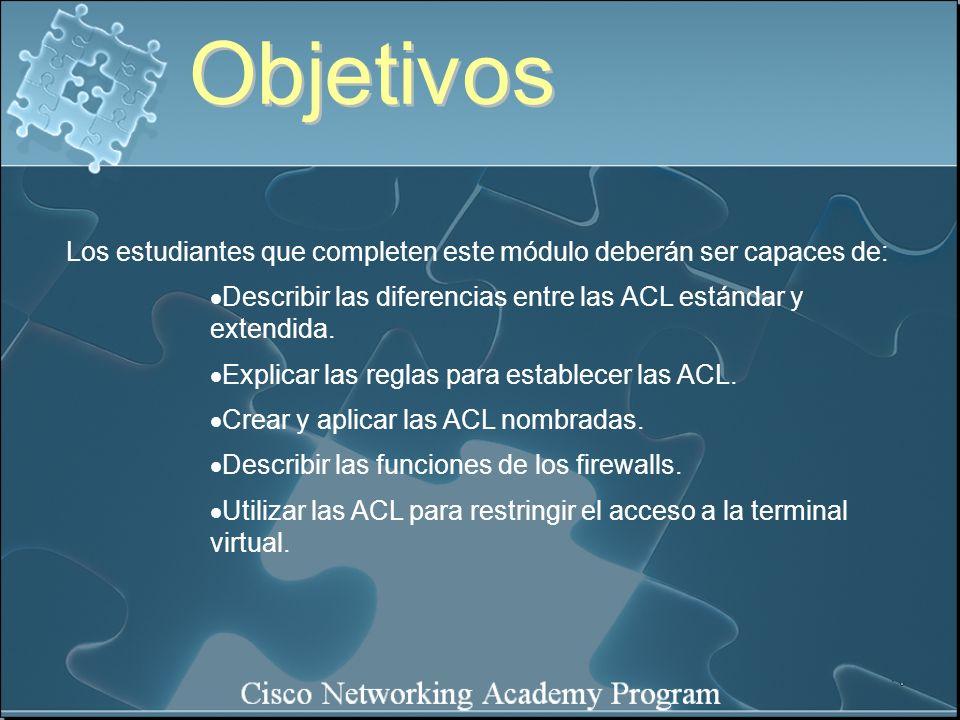 Existen varios comandos show que verifican el contenido y ubicación de las ACL en el router.