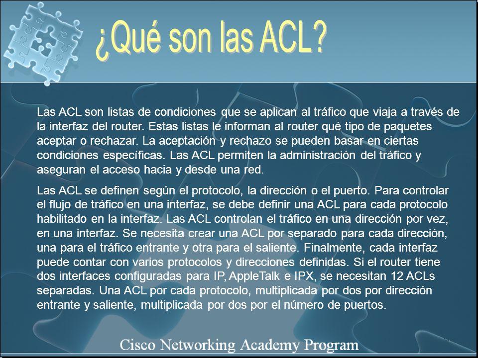 Las ACL son listas de condiciones que se aplican al tráfico que viaja a través de la interfaz del router. Estas listas le informan al router qué tipo