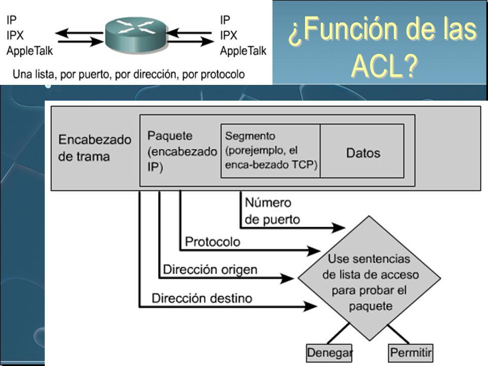 Las ACL se utilizan para controlar el tráfico, mediante el filtrado de paquetes y la eliminación del tráfico no deseado de la red.