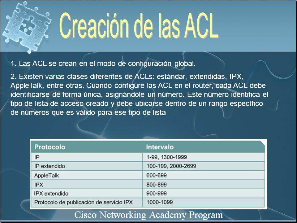1. Las ACL se crean en el modo de configuración global. 2. Existen varias clases diferentes de ACLs: estándar, extendidas, IPX, AppleTalk, entre otras