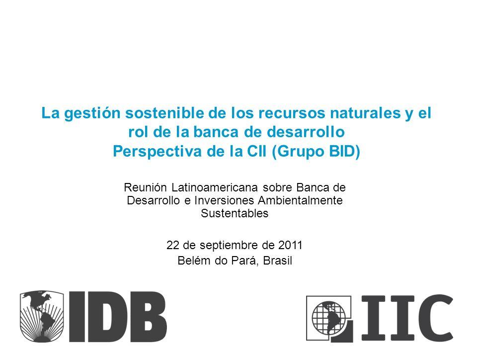 La gestión sostenible de los recursos naturales y el rol de la banca de desarrollo Perspectiva de la CII (Grupo BID) Reunión Latinoamericana sobre Ban