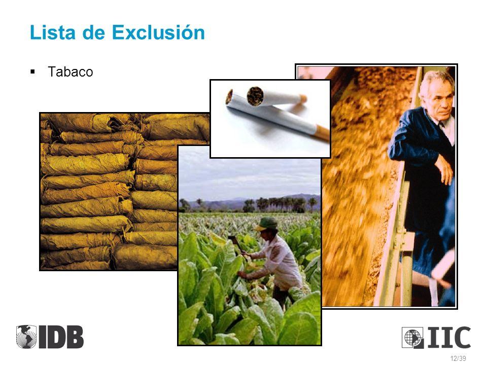 Lista de Exclusión Tabaco 12/39