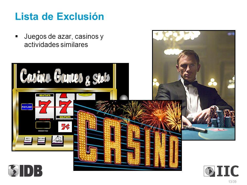 Lista de Exclusión Juegos de azar, casinos y actividades similares 13/39