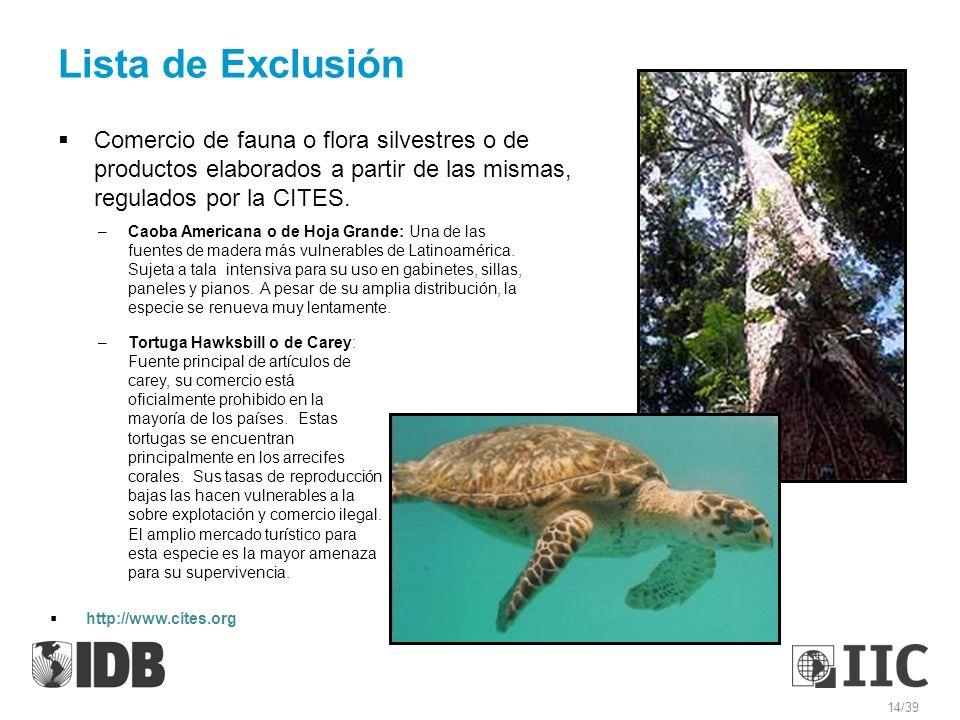 Lista de Exclusión Comercio de fauna o flora silvestres o de productos elaborados a partir de las mismas, regulados por la CITES. –Caoba Americana o d