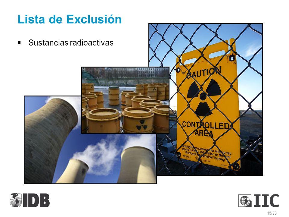 Lista de Exclusión Sustancias radioactivas 15/39