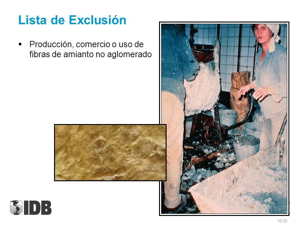 Lista de Exclusión Producción, comercio o uso de fibras de amianto no aglomerado 16/39