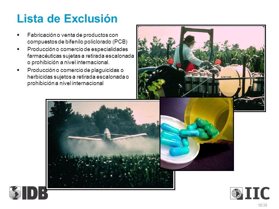 Lista de Exclusión Fabricación o venta de productos con compuestos de bifenilo policlorado (PCB) Producción o comercio de especialidades farmacéuticas