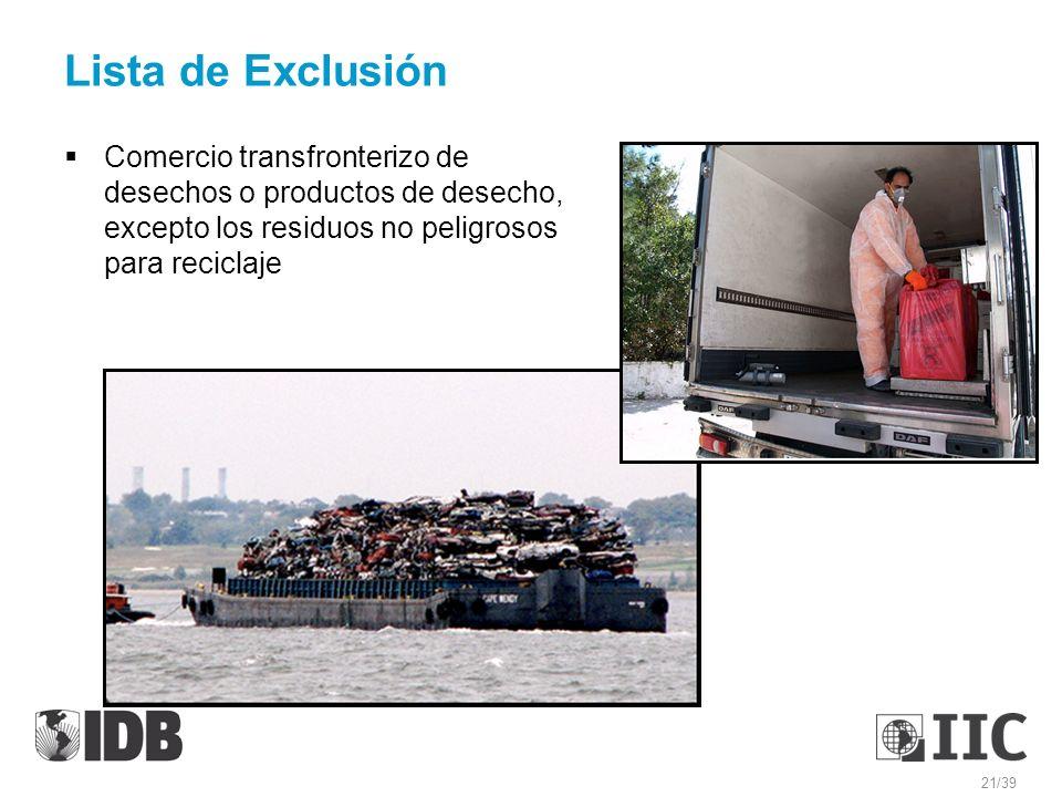 Comercio transfronterizo de desechos o productos de desecho, excepto los residuos no peligrosos para reciclaje Lista de Exclusión 21/39