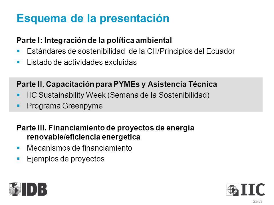 Esquema de la presentación Parte I: Integración de la política ambiental Estándares de sostenibilidad de la CII/Principios del Ecuador Listado de acti