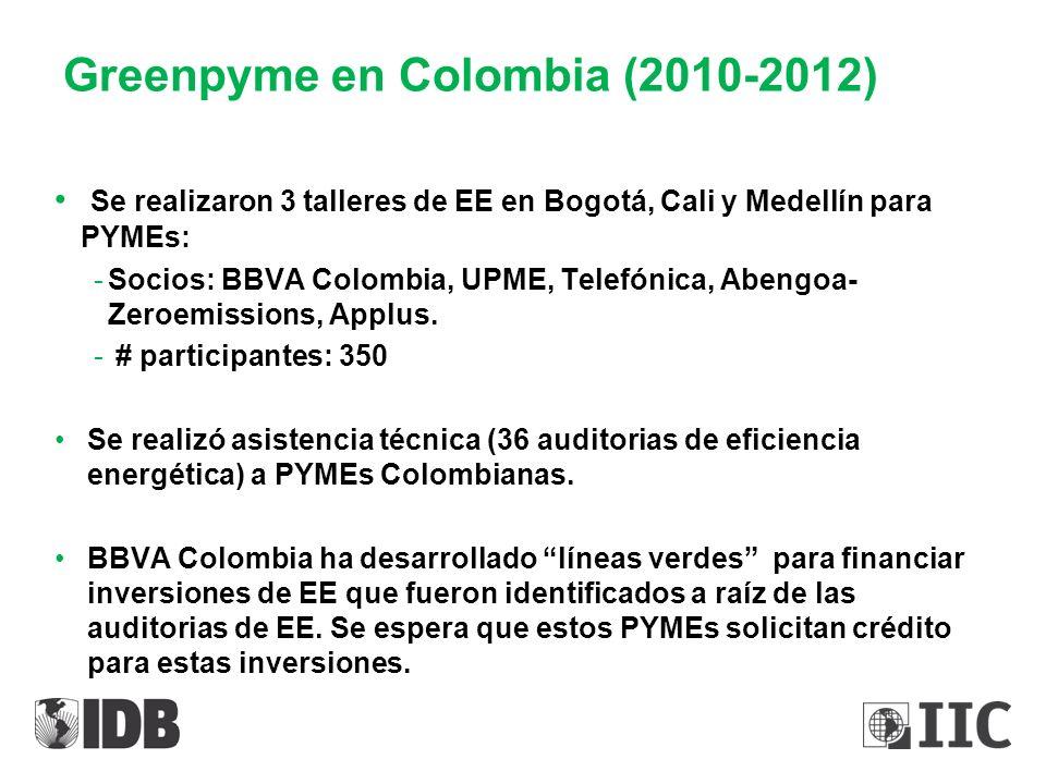 Greenpyme en Colombia (2010-2012) Se realizaron 3 talleres de EE en Bogotá, Cali y Medellín para PYMEs: -Socios: BBVA Colombia, UPME, Telefónica, Aben
