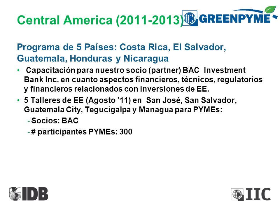 Central America (2011-2013) Programa de 5 Países: Costa Rica, El Salvador, Guatemala, Honduras y Nicaragua Capacitación para nuestro socio (partner) B