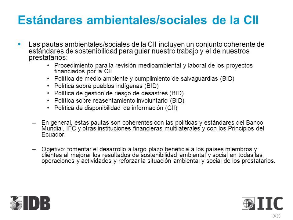 Estándares ambientales/sociales de la CII Las pautas ambientales/sociales de la CII incluyen un conjunto coherente de estándares de sostenibilidad par