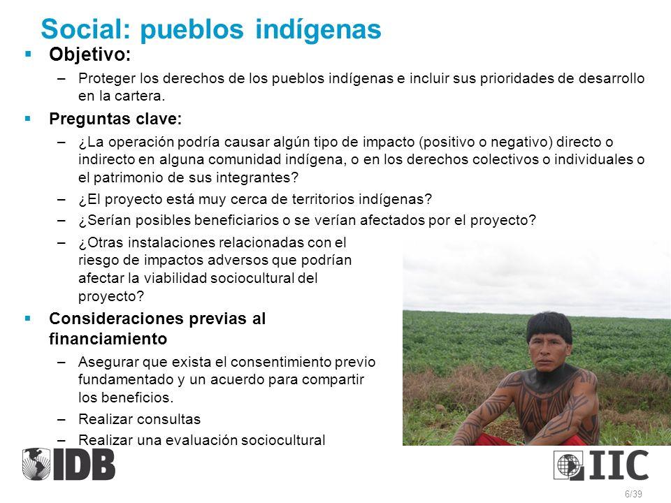 Social: pueblos indígenas Objetivo: –Proteger los derechos de los pueblos indígenas e incluir sus prioridades de desarrollo en la cartera. Preguntas c