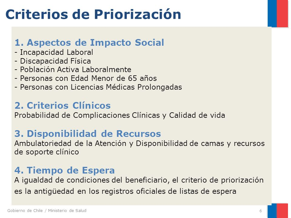 Gobierno de Chile / Ministerio de Salud 6 1. Aspectos de Impacto Social - Incapacidad Laboral - Discapacidad Física - Población Activa Laboralmente -