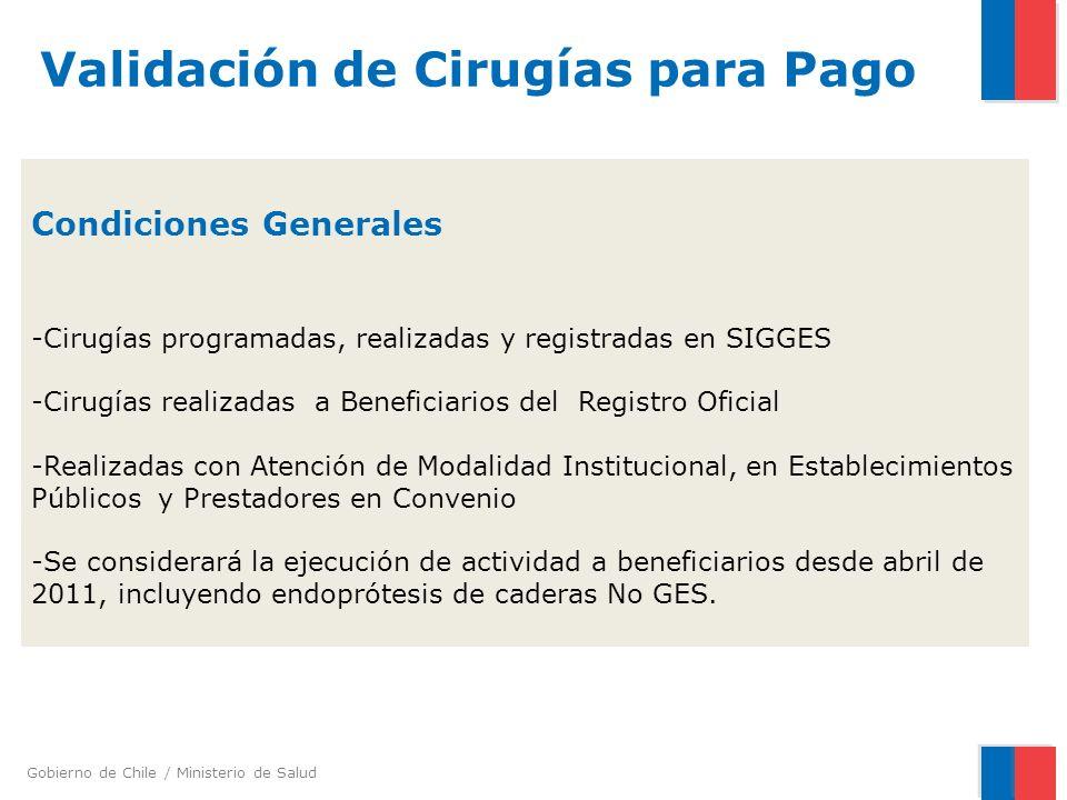 Gobierno de Chile / Ministerio de Salud Condiciones Generales -Cirugías programadas, realizadas y registradas en SIGGES -Cirugías realizadas a Benefic
