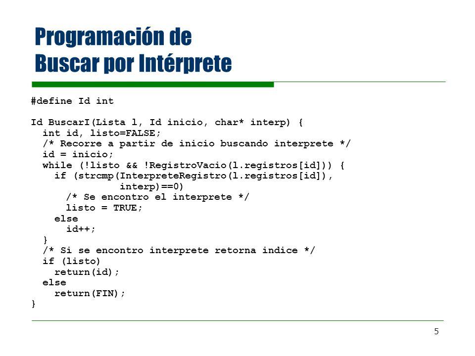 6 Ejercicio: Borrar un elemento de la lista L Lista Borrar(Lista l, Id regId) { int id; id = regId; do { l.registros[id] = l.registros[id+1]; id++; } while (.