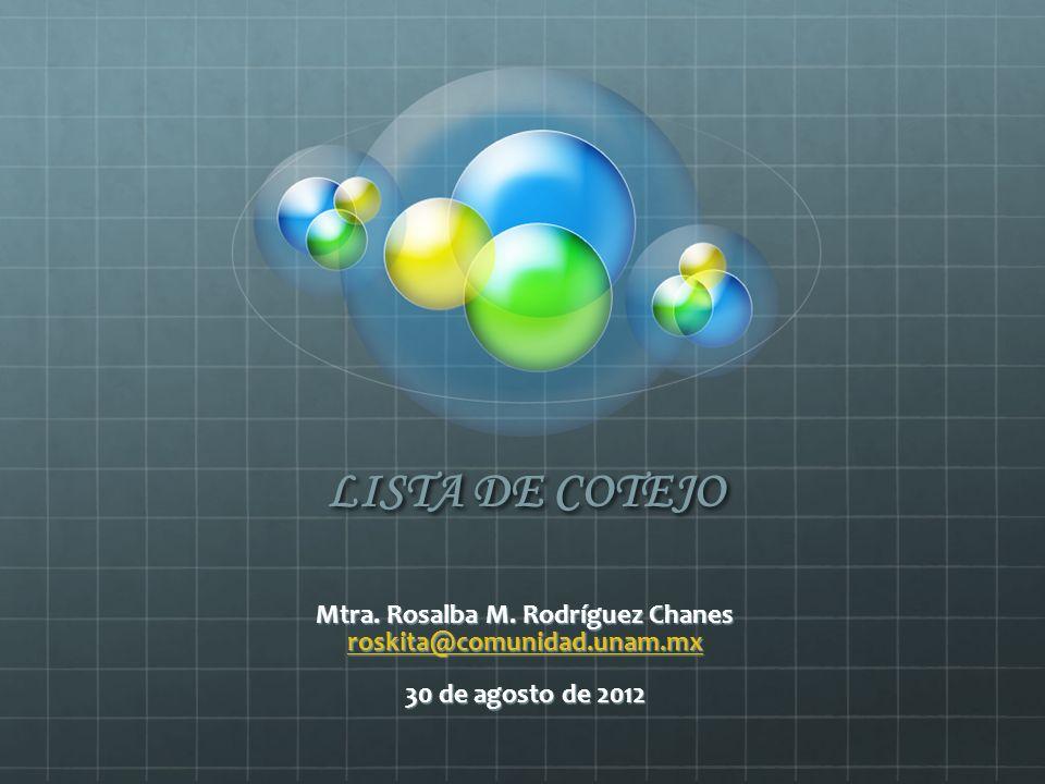 LISTA DE COTEJO Mtra. Rosalba M. Rodríguez Chanes roskita@comunidad.unam.mx 30 de agosto de 2012