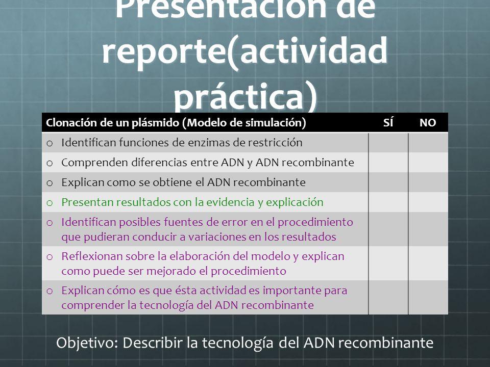 Presentación de reporte(actividad práctica) Clonación de un plásmido (Modelo de simulación)SÍNO o Identifican funciones de enzimas de restricción o Co
