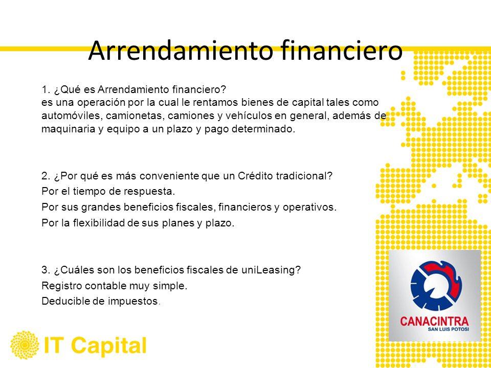 Arrendamiento financiero 1. ¿Qué es Arrendamiento financiero? es una operación por la cual le rentamos bienes de capital tales como automóviles, camio