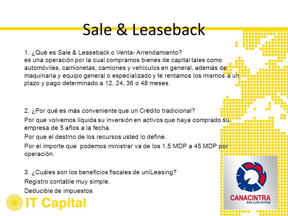 Sale & Leaseback 1. ¿Qué es Sale & Leaseback o Venta- Arrendamiento? es una operación por la cual compramos bienes de capital tales como automóviles,