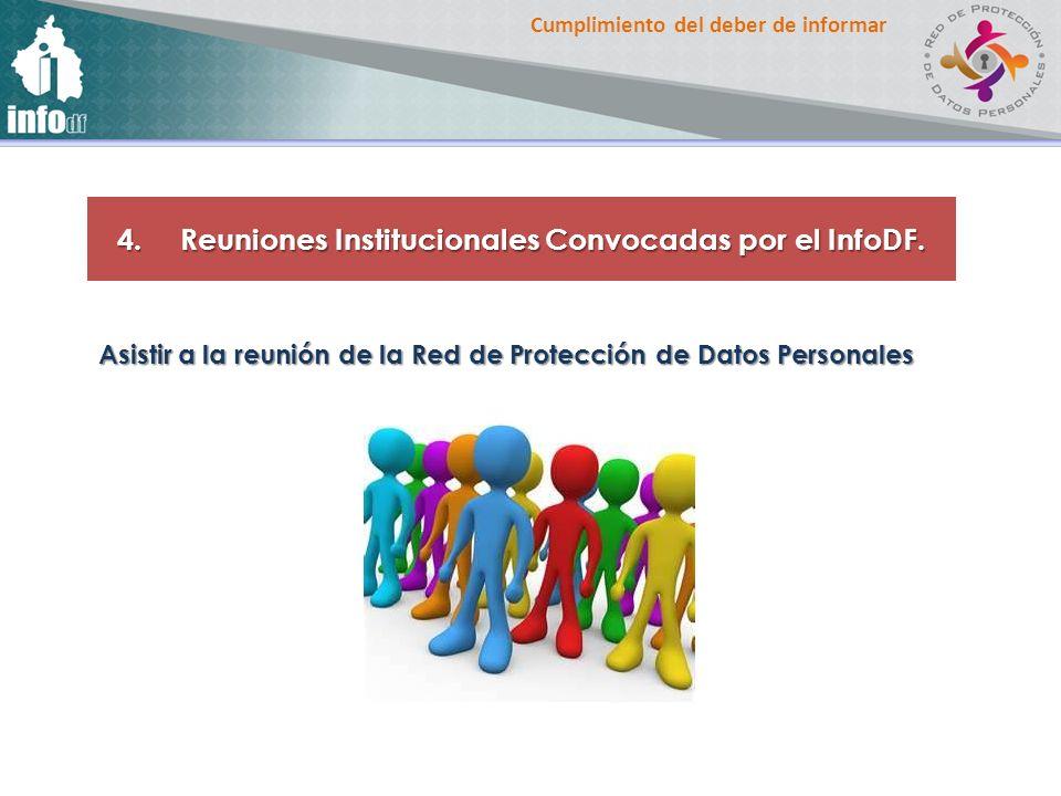 Cumplimiento del deber de informar 4. Reuniones Institucionales Convocadas por el InfoDF. Asistir a la reunión de la Red de Protección de Datos Person