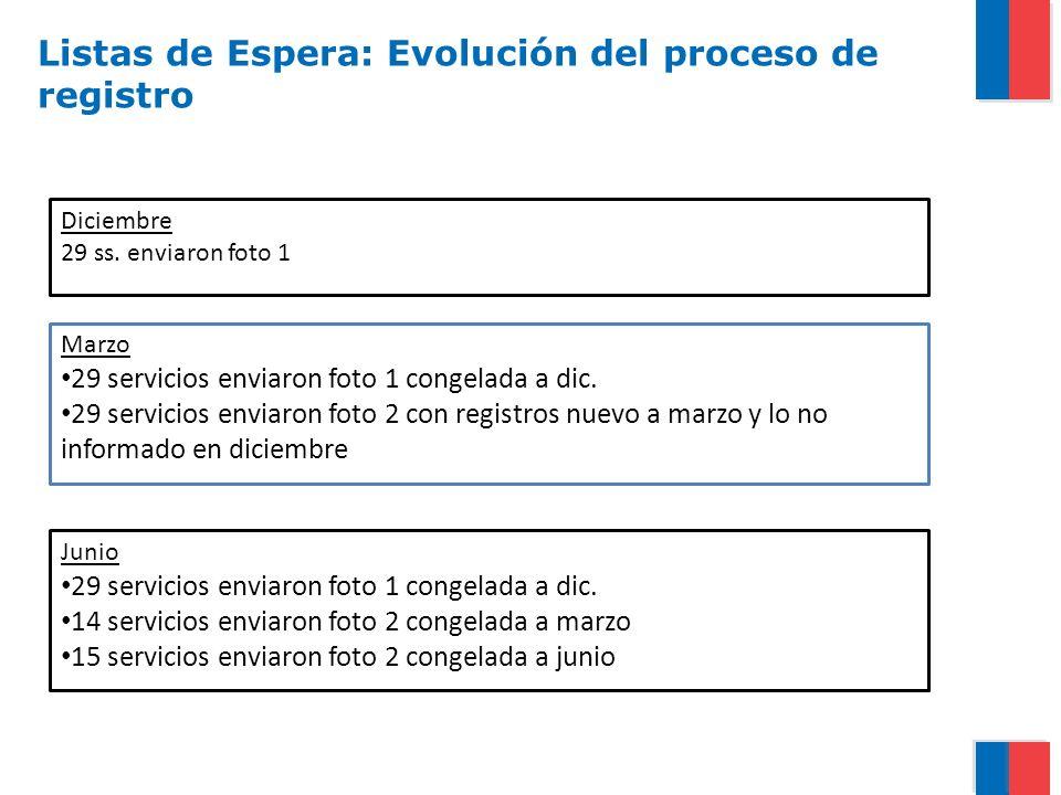 Listas de Espera: Evolución del proceso de registro Diciembre 29 ss. enviaron foto 1 Marzo 29 servicios enviaron foto 1 congelada a dic. 29 servicios