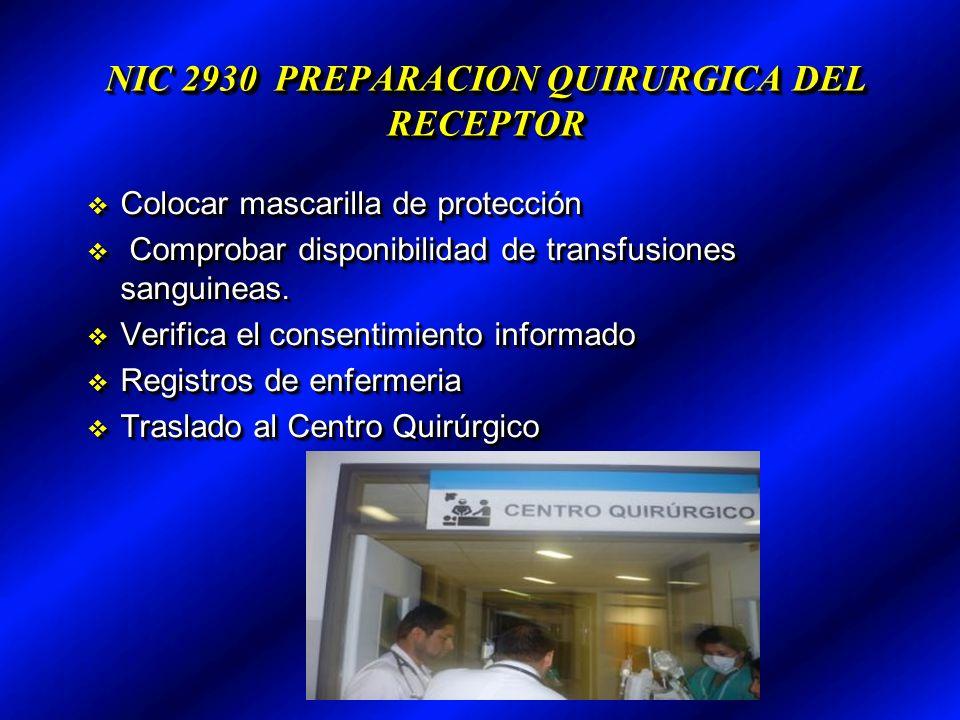 NIC 2930 PREPARACION QUIRURGICA DEL RECEPTOR Colocar mascarilla de protección Colocar mascarilla de protección Comprobar disponibilidad de transfusiones sanguineas.