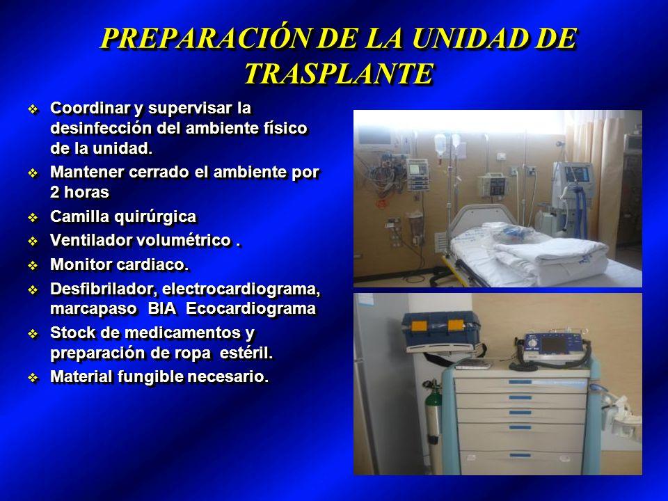 PREPARACIÓN DE LA UNIDAD DE TRASPLANTE Coordinar y supervisar la desinfección del ambiente físico de la unidad.