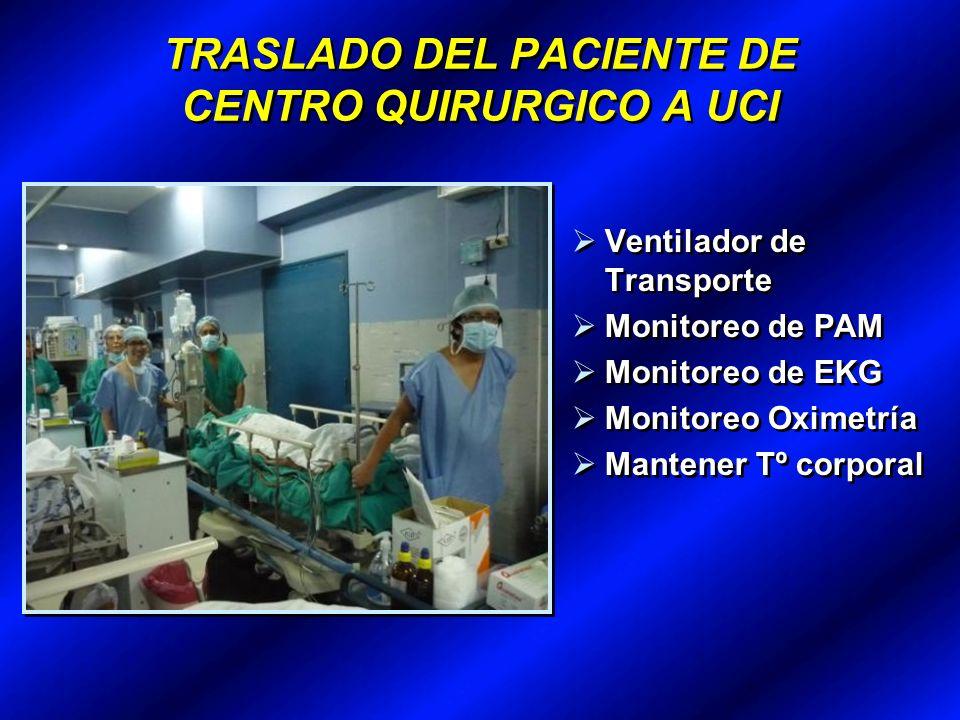 TRASLADO DEL PACIENTE DE CENTRO QUIRURGICO A UCI Ventilador de Transporte Monitoreo de PAM Monitoreo de EKG Monitoreo Oximetría Mantener Tº corporal