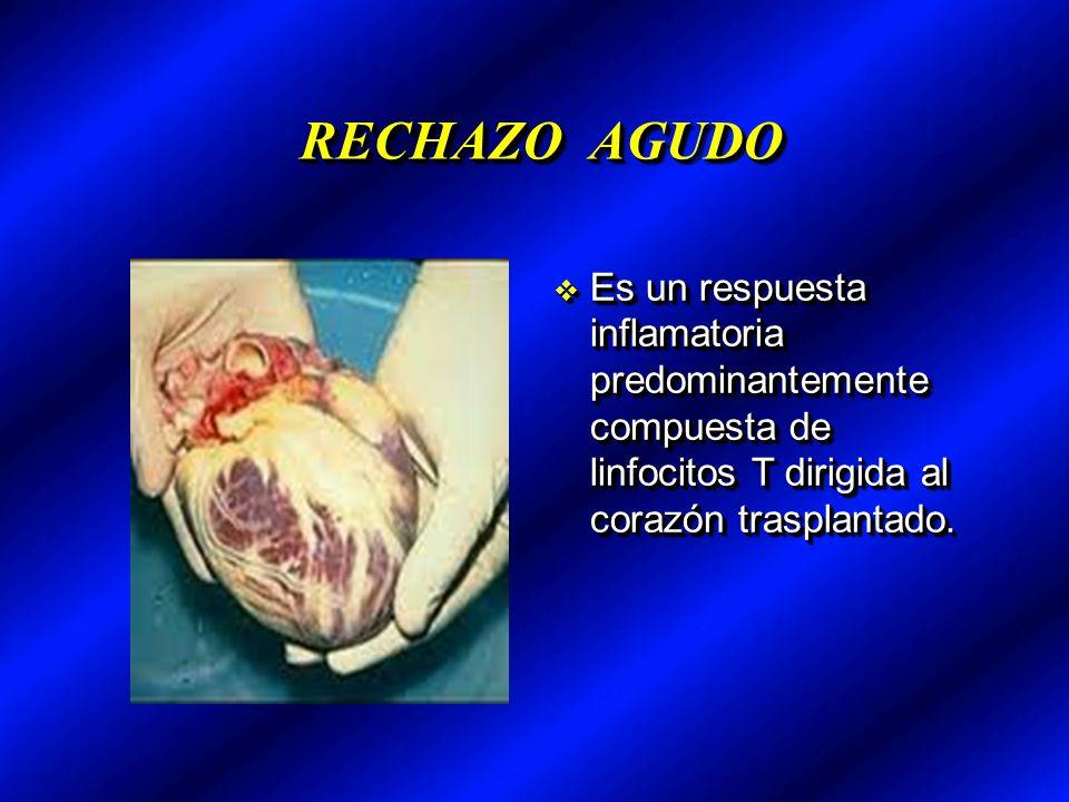 RECHAZO AGUDO Es un respuesta inflamatoria predominantemente compuesta de linfocitos T dirigida al corazón trasplantado.