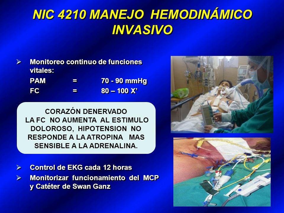 NIC 4210 MANEJO HEMODINÁMICO INVASIVO Monitoreo continuo de funciones vitales: PAM= 70 - 90 mmHg FC = 80 – 100 X DOLOROSO, HIPOTENSION NO RESPONDE A LA ATROPINA MAS SENSIBLE A LA ADRENALINA.
