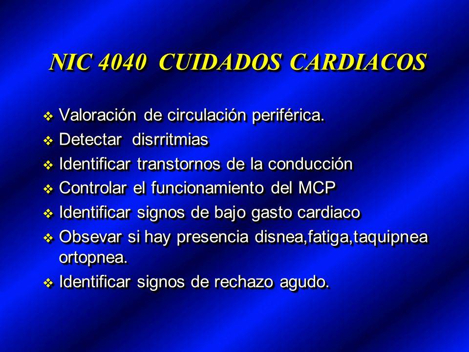 NIC 4040 CUIDADOS CARDIACOS Valoración de circulación periférica.